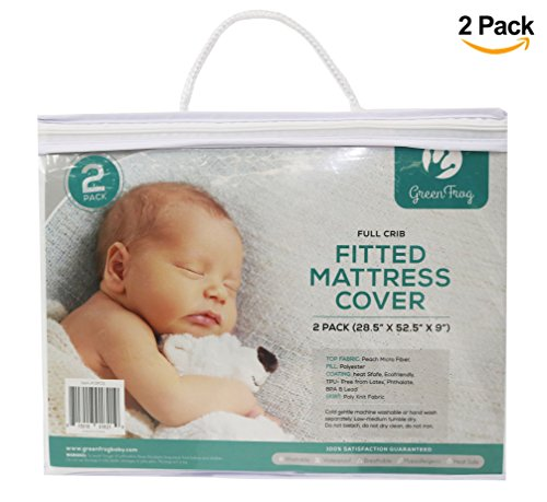 2 PACK Padded Waterproof Mattress Sheet | Fits Bassinet, Portable and Mini-Cribs | Waterproof & Dryer Friendly | Premium Microfiber Fitted Crib Protector | Comfortable & Hypoallergenic | by Green Frog