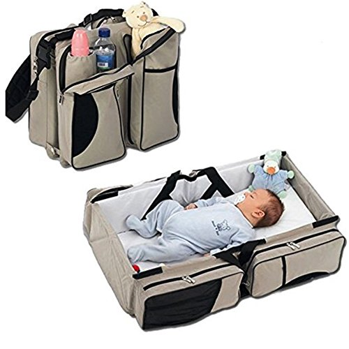 3 In 1 Diaper Bags Portable Crib Changing Station Travel Bassinet Baby