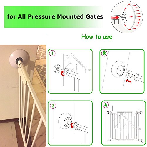 Wall Protection Guard Saver Protects Wall Surface 4 Pack Wall Cups for Baby Gates Safety Fit for Walk Through Security Pressure Mounted Gates Door Wooden Stairs