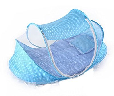 ACVIP-Infant-Baby-Portable-Cribs-Outdoor-Anti-Mosquito-Cotton-padded-Bed-Camping-Snooze-Beach-Net-Blue-0