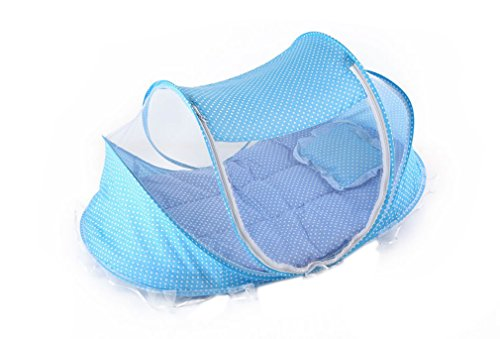 ACVIP Infant Baby Portable Cribs Outdoor Anti-Mosquito Cotton-padded Bed Camping Snooze Beach Net (Blue)