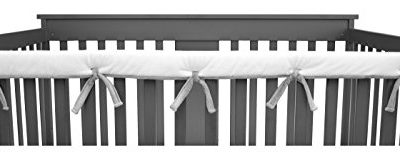 American-Baby-Company-Heavenly-Soft-Chenille-Reversible-Crib-Cover-for-Long-Rail-GrayWhite-Narrow-for-Crib-Rails-Measuring-up-to-8-Around-0
