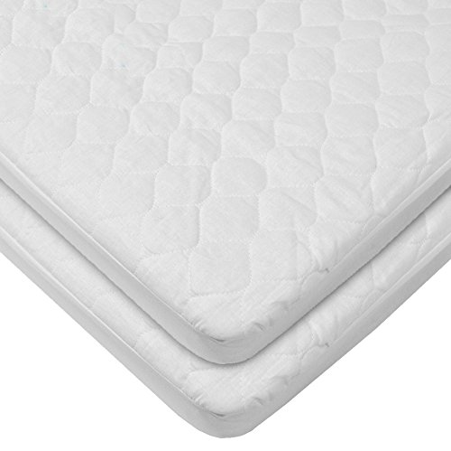 "American Baby Company Waterproof Fitted Quilted Bassinet 15"" x 33"" Mattress Pad Cover, 2-Pack"