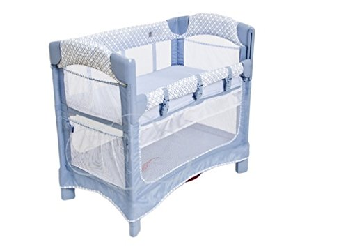 Arm's Reach Concepts Mini Ezee 3-in-1 Bedside Bassinet - Periwinkle Pane/Blue