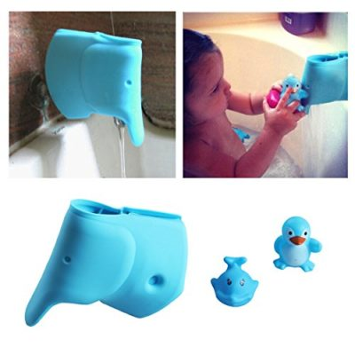 Baby-Bath-Spout-Cover-Faucet-Cover-Guard-Protector-for-Kids-and-Toddlers-Child-Bathroom-Accessories-Silicone-Cover-for-Bathtub-Cute-Tub-Faucet-Safety-Spout-Blue-Elephant-Free-Bath-Tub-Toys-0