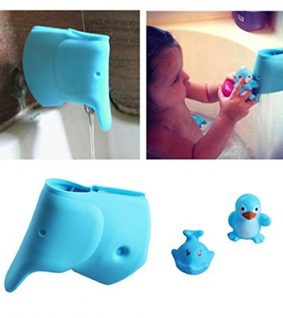 Baby Bath Spout Cover - Faucet Cover Guard Protector for Kids and Toddlers - Child Bathroom Accessories Silicone Cover for Bathtub - Cute Tub Faucet Safety Spout Blue Elephant - Free Bath Tub Toys
