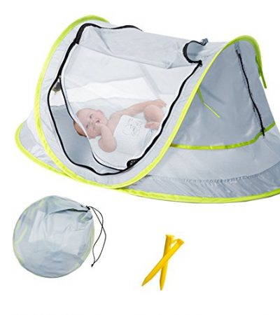 Baby Beach Tent, Portable Baby Travel Bed UPF 50+ Sun Shelters for Infant , Pop Up Mosquito Net with 2 Pegs Sunshade Ultralight Weight