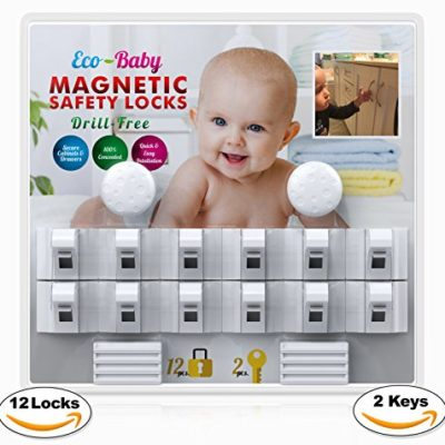 Baby-Child-Proof-Cabinet-Drawers-Magnetic-Safety-Locks-Set-of-12-with-2-Keys-By-Eco-Baby-Heavy-Duty-Locking-System-with-3M-Adhesive-Tape-Easy-To-Install-Without-Damaging-Your-Furniture-0
