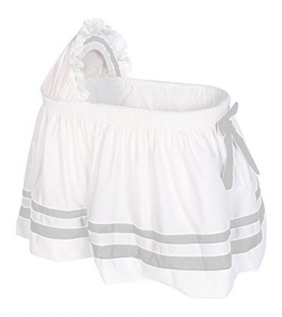 Baby Doll Bedding Modern Hotel Style II Bassinet Skirt, Grey