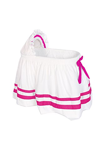Baby Doll Bedding Modern Hotel Style II Bassinet Skirt, Hot Pink