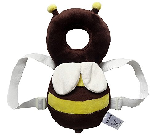 Baby Protector-ProttyLife Baby Ajustable Head Shoulder Safety Pad Baby head protection pad kids learn to walk anti crash pillow tollder headrest infant neck cute wings nursing safety cushion (L, Bee)
