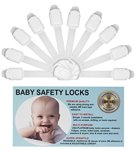 Baby Safety Adjustable Locks - Cabinet Locks - Door, Fridge, Oven, Toilet  Seat and Drawer Latches, Free 20 Extra 3m Adhesive Pads, No Tools or