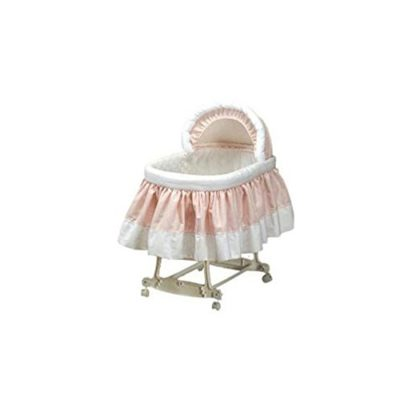 BabyDoll-Pretty-Pique-Bassinet-Liner-and-Hood-Pink-16×32-0