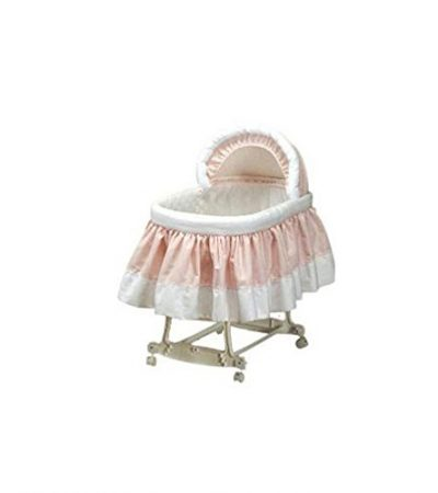 "BabyDoll Pretty Pique Bassinet Liner and Hood, Pink, 16""x32"""