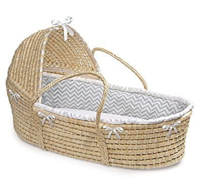 Badger-Basket-Hooded-Moses-Basket-Chevron-Bedding-NaturalGrayWhite-0