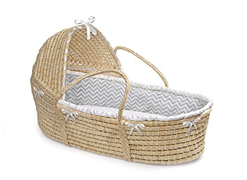 Badger Basket Hooded Moses Basket Chevron Bedding, Natural/Gray/White