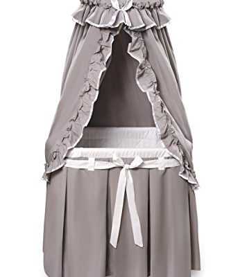 Badger-Basket-Majesty-Baby-Bassinet-with-Canopy-Bedding-GrayWhite-0
