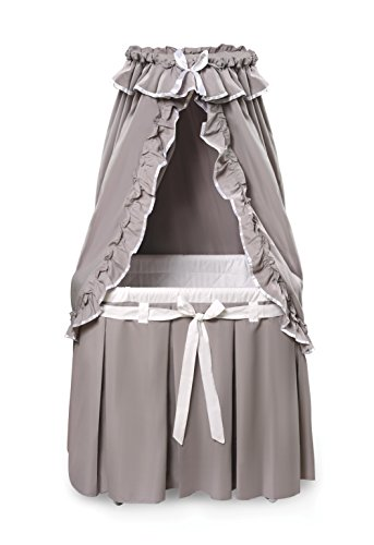 Badger Basket Majesty Baby Bassinet with Canopy Bedding, Gray/White