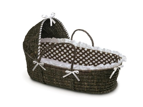 Badger Basket Moses Basket with Polka Dot Hood and Bedding, Espresso/Brown