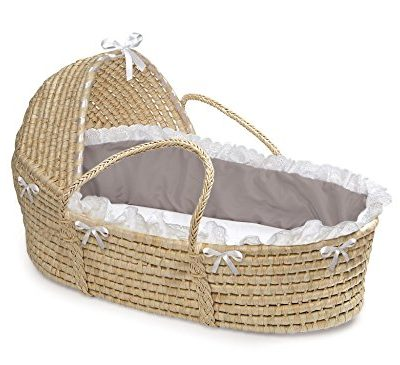 Badger-Basket-Natural-Hooded-Moses-Basket-GrayWhite-Bedding-0
