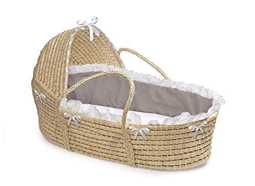 Badger Basket Natural Hooded Moses Basket - Gray/White Bedding