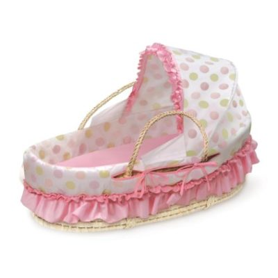 Badger-Basket-Natural-Moses-Basket-with-Fabric-Canopy-Pink-and-Sage-Dot-0
