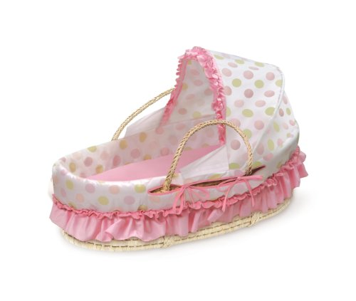 Badger Basket Natural Moses Basket with Fabric Canopy, Pink and Sage Dot