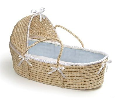 Badger-Basket-Natural-Moses-Basket-with-Hood-Blue-Waffle-Bedding-0