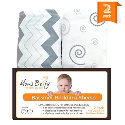 Bassinet-Sheet-Set-2-Pack-Jersey-Cotton-Fitted-Sheets-GreyWhite-Unisex-Baby-Bedding-Design-0