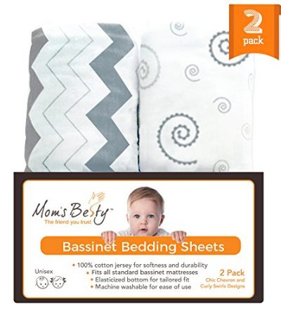 Bassinet Sheet Set - 2 Pack Jersey Cotton Fitted Sheets - Grey/White Unisex Baby Bedding Design
