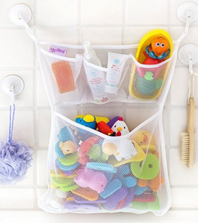 "Bath Toy Organizer -The Original Tub Cubby - Large 14x20"" Quick Dry Bathtub Mesh Net - Massive Baby Toy Storage Bin + 3 Soap Pockets - 100% Guaranteed for Life"