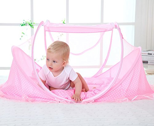 Bersun Travel Crib ,Baby Tent, Baby Bed ,Instant Pop Up Portable Baby Travel Bed With Mosquito Net With Pad