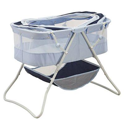 Big-Oshi-Newborn-Dual-Canopy-Indoor-Outdoor-Travel-Bassinet-Emma-Navy-0