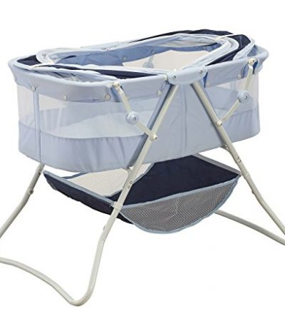 Big Oshi Newborn Dual Canopy Indoor & Outdoor Travel Bassinet (Emma), Navy