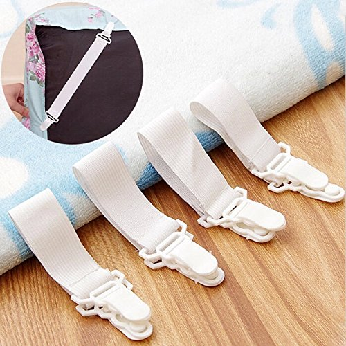 C&C Products 4x Bed Sheet Grippers Clip Holder Fasteners Set Elastic
