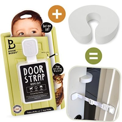 Door-Buddy-Child-Door-Lock-and-Foam-Baby-Door-Stopper-Baby-Proofing-Doors-Made-Simple-with-Easy-to-Use-Hook-and-Latch-Keep-Baby-Out-Prevent-Finger-Pinch-Injuries-and-Allow-Cats-Easy-Access-0