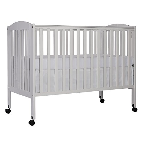 Dream On Me Full Size 2 in 1 Folding Stationary Side Crib, White