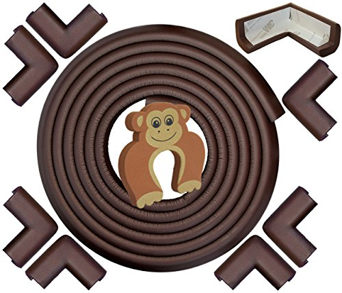 Edge & Corner Guards - EXTRA LONG 22.0ft Total Coverage incl 8 Pre-Taped Corner Bumpers - Coffee Brown - Sharp Edge Furniture Protectors, Childproof Cushion Protection - Door Slammer Guard Included