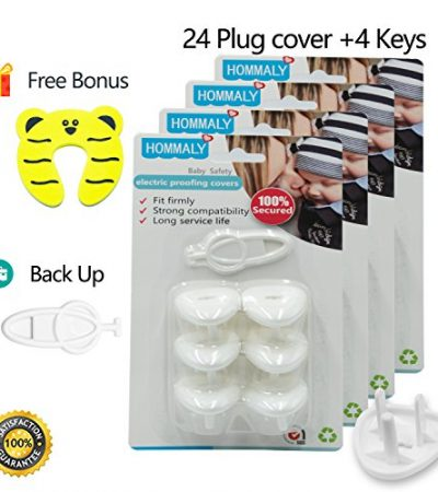 Electric Outlet Plugs covers Baby Proofing( 24 Plug + 5 Keys),baby safety ElectricalProtector Caps Kit for Toddlers child