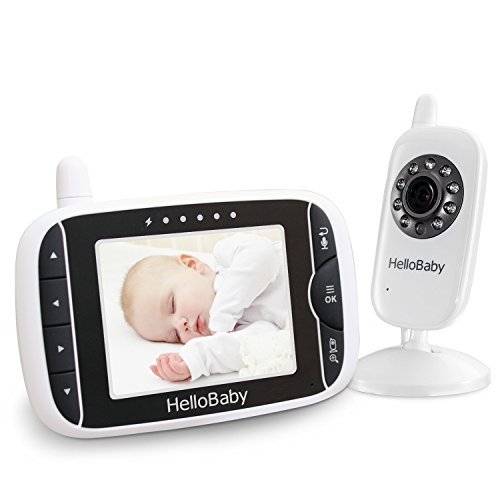 HelloBaby 3.2 Inch Video Baby Monitor with Night Vision & Temperature Sensor, Two Way Talkback System