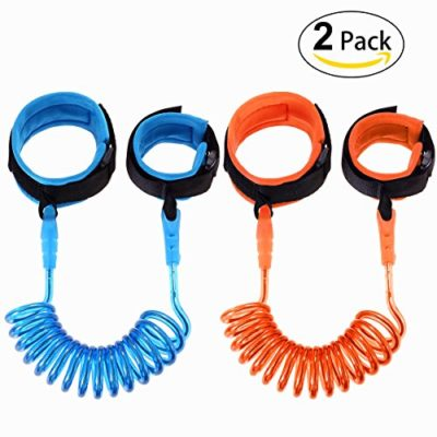 Hompie-Anti-Lost-Wrist-Link-Harness-Leash-Strap-Rope-Safety-Velcro-Wristband-to-Prevent-Children-and-Kids-from-Losing-2-PACK492-ft-Blue-and-Orange-0
