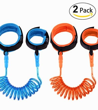 Hompie Anti Lost Wrist Link, Harness Leash Strap Rope Safety Velcro Wristband to Prevent Children and Kids from Losing, 2 PACK(4.92 ft, Blue and Orange)