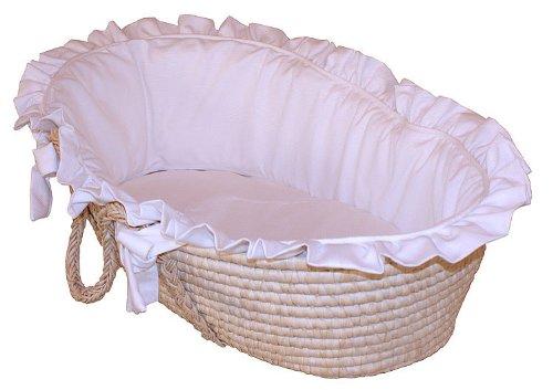 Hoohobbers Moses Basket, White Pique
