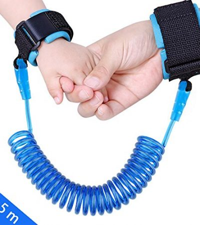 JINSEY Safety Child Anti Lost Wrist Link Harness Strap Rope Leash Walking Hand Belt Band Wristband for Toddlers, Kids (2.5m Blue)