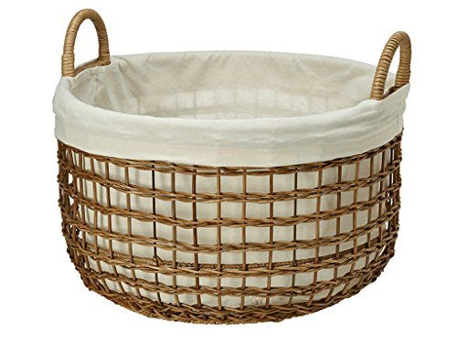 KOUBOO Open Weaver Wicker Basket with Liner, Large