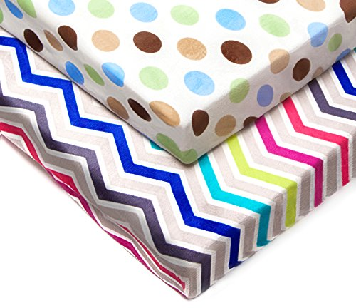 Kenley Pack n Play Playard Sheet Set - 2 Fitted Sheets for Playpen Portable Crib Mini Travel Play Yard - Waterproof Soft Minky Fabric Protects Mattress - Nursery Bedding for Baby Toddler Girl or Boy