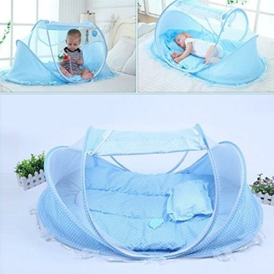 KidsTime-Baby-Travel-BedBaby-Bed-Portable-Folding-Baby-Crib-Mosquito-Net-Portable-Baby-Cots-Newborn-Foldable-CribBLUE-0