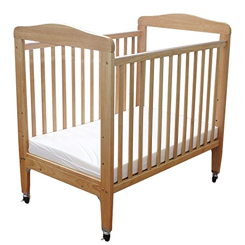 LA Baby Compact Non-folding Wooden Window Crib, Natural