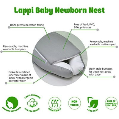 Lappi-Baby-Unisex-Newborn-Nest-Owls-Gray-Baby-Nest-100-Cotton-Bassinet-For-Bed-0-1