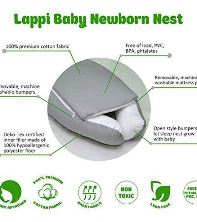 Lappi Baby Unisex Newborn Nest - Gray Elephants Baby Nest - 100% Cotton Bassinet For Bed